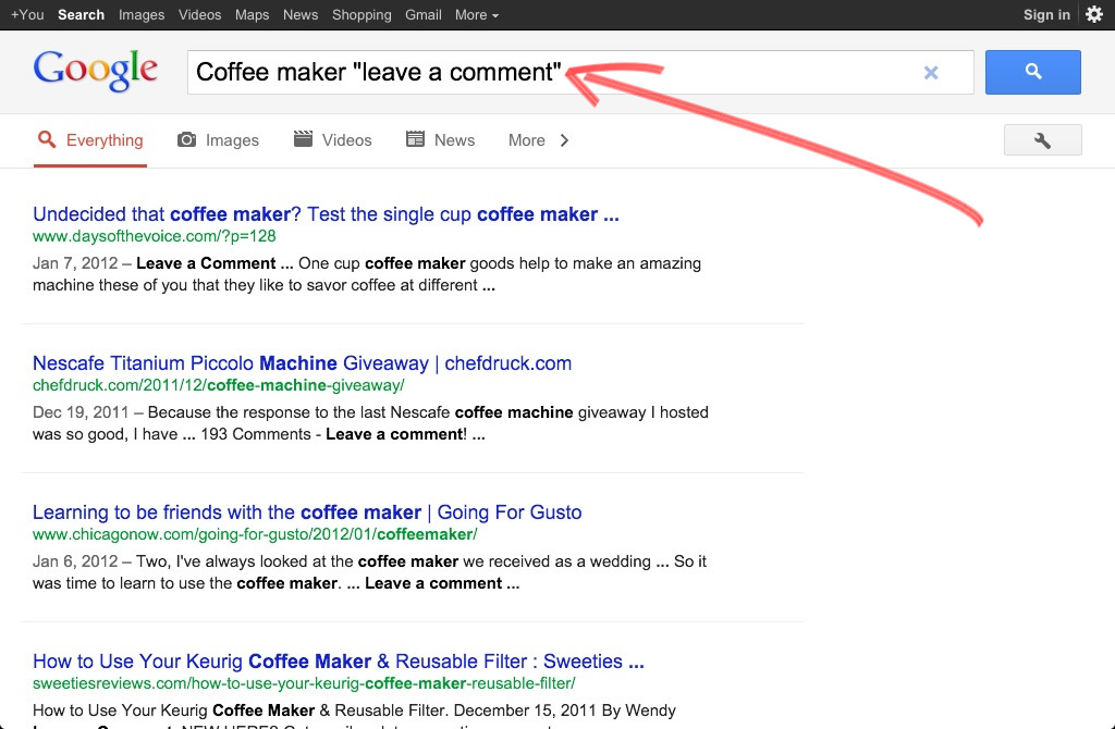 Google search for comment friendly blogs